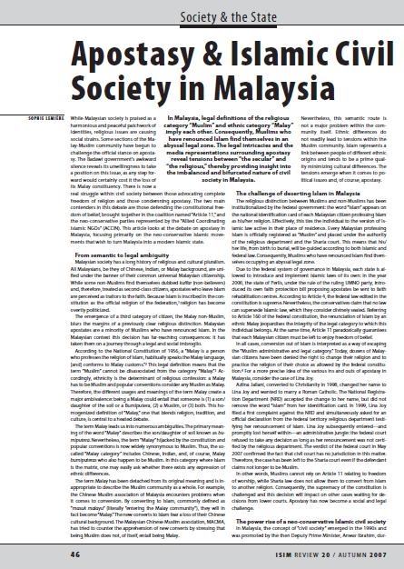 Apostasy and Islamic Civil Society in Malaysi