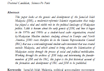 """Genesis and Development of a """"non-Partisan"""" Political Actor: the Formation of the Jama'ah Islah Malaysia (JIM) and its Roots in Western Europe"""