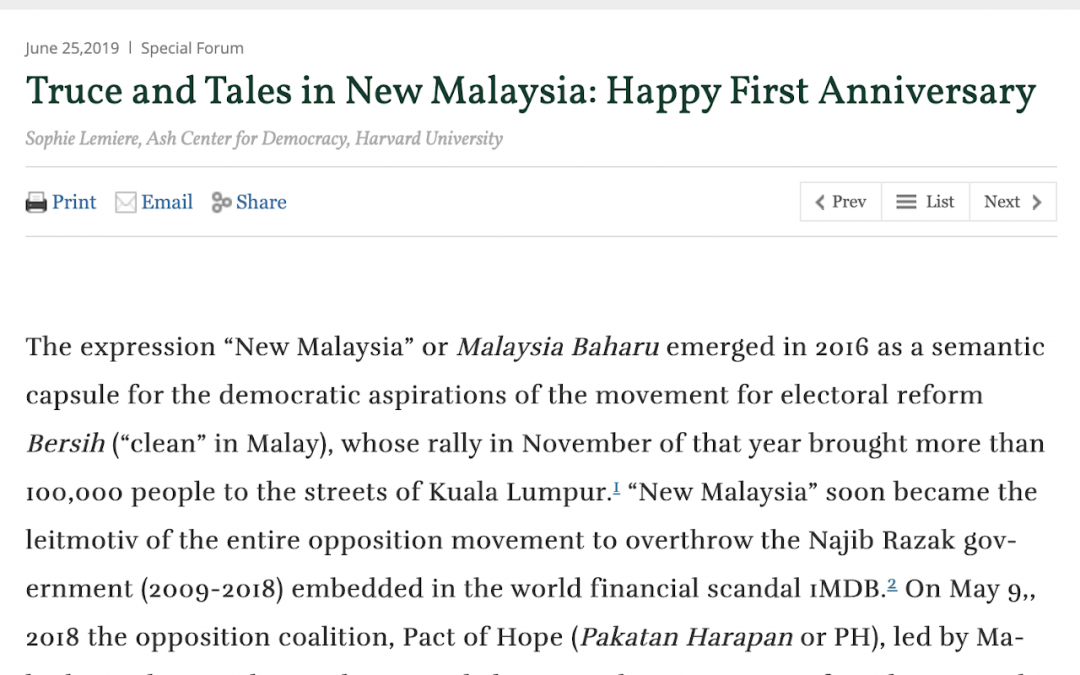 Truce and Tales in New Malaysia - Happy First Anniversary